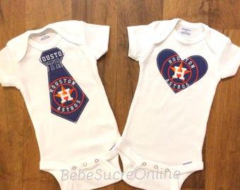 Houston Astros Bodysuit or Toddler Shirt- You Choose Heart or Tie