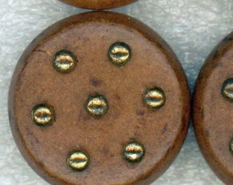 4 Big Vintage Wood Coat Buttons with Gold Metal Studs 1-1/8 inch 28mm - Set of Wooden Sewing Buttons