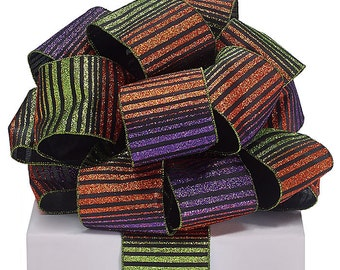 "5YDS x 2-1/2"" Halloween Striped Purple Orange & Green Metallic Wired Edge Ribbon (FREE SHIPPING!)"