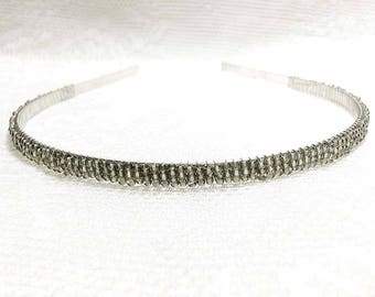 Gray Beaded Headband Tiara - Alice Hair Band - Sparkle Collection (Limited Edition) HB5SSL-27