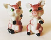 RARE Wales Made in Japan Mid-Century 1950s Pair of Pig Salt + Pepper Shakers - Vintage Salt and Pepper Shakers
