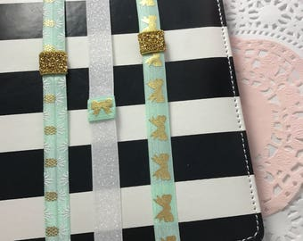 Mint Pineapple and  ow Print Planner Band with Pen Loop Set for Erin Condren, Happy Planner, Kikki K, Filofax, and more