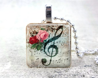 Music Clef Necklace Pendant - Music Lover Charm - Victorian Music Clef Wood Tile Jewelry