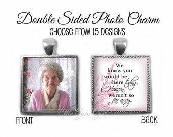 Custom Wedding Bouquet Photo Charm - Personalized Picture Memorial Wedding Charm with Heaven Poem In Memory - Square Pendant 15 Designs