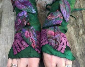 Faerie Cuffs-woodland cuffs-  forest gloves- Cuffs- Folkowl Cuffs - fingersless gloves-Forest Cuffs - Faerie Cuffs - armwarmers-steampunk