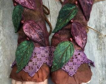 Faerie Cuffs-woodland cuffs-Cuffs- Folkowl Cuffs - fingerless gloves-Forest Cuffs - Faerie Cuffs - armwarmers-steampunk- wristlets