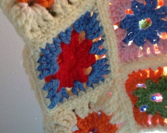 Vintage colourful festival boho granny square  funky crocheted top