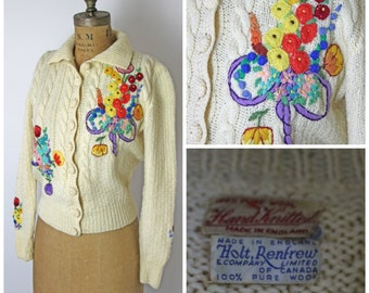 1960s Hand Knit, Embroidered Floral Sweater