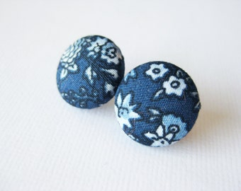 Floral button earrings in dark navy blue and light blue, Liberty of London fabric
