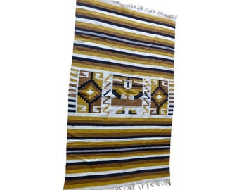S A L E // Striped Ethnic Golden Wool Area RUG