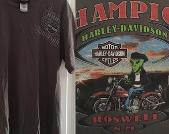 Roswell New Mexico NM Alien Back Graphic Harley Davidson Motor Cycles Tee Shirt Tshirt Gray Grey