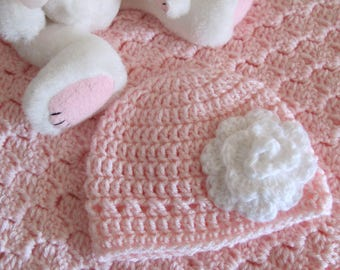 """Pink Baby Afghan w/Free Matching Hat Hand Crocheted """"I Love This Yarn"""" Super Soft Stroller/Car Seat/Baby Shower/ Christening/Baptism Blanket"""