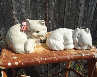 Vintage Lot of 2 White Persian Cat Figurines