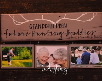 Grandchildren future hunting buddies. Rustic sign 20x5.5 . Reclaimed wood. Grandparents gift by Ladybug design by Eu.