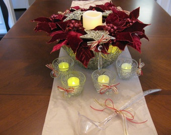 Christmas Red Poinsettia Punch Bowl Lighted Centerpiece
