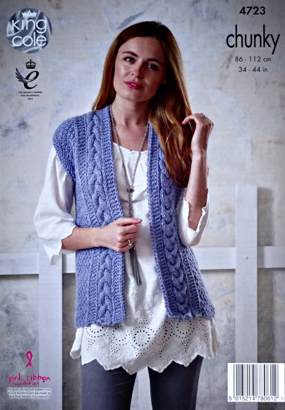 Womens Knitting Pattern K4723 Ladies Sleeveless Cable