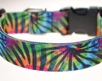 "Tie-Dye - 1"" Wide Adjustable Dog Collar"