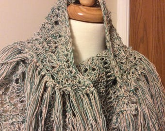 Kerchief Shawl, Hand Knit, Picot Edge, Fringed, Old Shale, Mixed Fiber, 68 x 47 Inch, Aqua Beige Green
