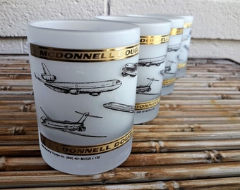 Dorothy Thorpe Inc Glasses McDonnell Douglas Aircraft Double Old Fashioned HiBalls Set of 4 Military and Civilian Aerospace Barware