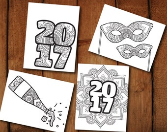 2017 Coloring Pages // Printable PDF set // Adult Coloring Pages // Class of 2017