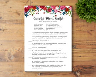 INSTANT DOWNLOAD, Printable Bridal Shower Game, Romantic Movie Quotes, Watercolor Flowers