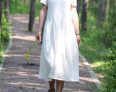 white summer sundress Soft and comfortable cotton Short sleeves dress