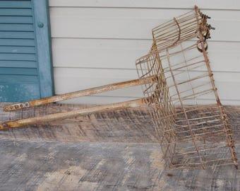 Vintage Wald Rusty Bike Wire Basket with Wheel Bar Attachments