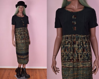 90s Dark Green Printed Maxi Dress/ US 10/ 1990s/ Short Sleeve