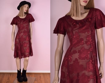 90s Red Sheer Floral Print Dress/ X-Small/ 1990s