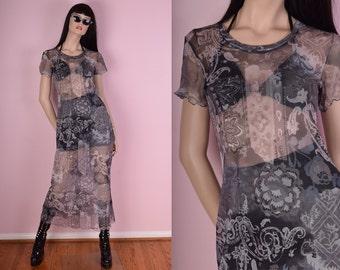 90s Paisley Mesh Maxi Dress/ Small/ 1990s/ Sheer/ Short Sleeve/ Printed