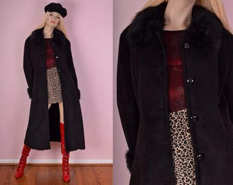 90s Black Faux Suede Faux Fur Trim Coat/ Medium/ 1990s/ Jacket