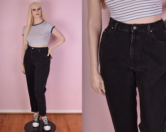 90s Black Mom Jeans/ 31.5 Waist/ 1990s/ High Waisted/ Denim