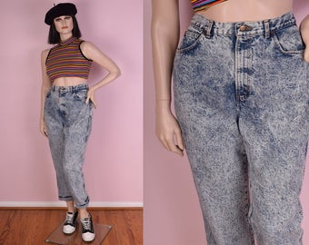 80s Acid Wash High Waisted Jeans/ US 18/ 33 Waist/ 1980s/ Stone Wash/ Mom Jeans
