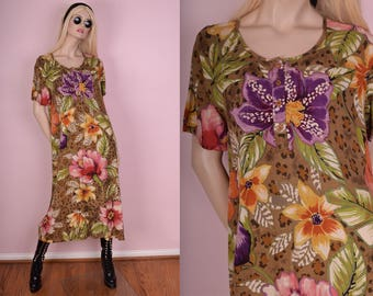 90s Oversized Floral Print Dress/ Medium/ 1990s