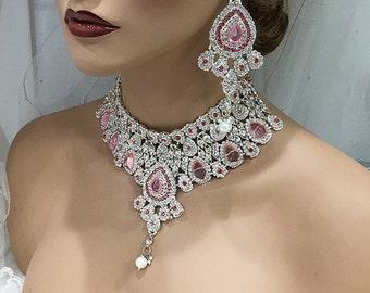 Wedding jewelry set, Crystal bridal bib necklace earrings, Indian Bollywood kundan fashion jewelry set, Pink crystal evening jewelry set