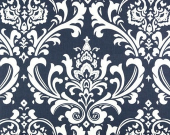 Navy Blue and White Damask Curtains - Rod Pocket - 63 72 84 90 96 108 or 120 Long by 24 or 50 Wide