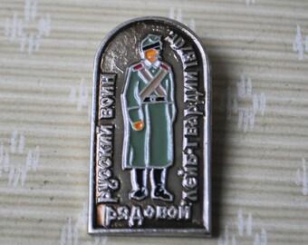 "Vintage Soviet Russian badge,pin.""Russian warrior-Soldier"""