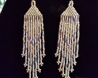 Native American Style Seed Bead Earrings, Silver, 4 inch Brick Stitch Gypsy, Boho, Southwestern, Tribal, Peyote, Hippie Ready to Ship