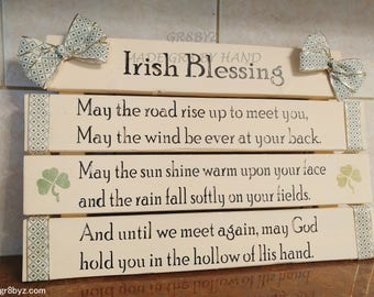 Irish Blessing Wall Hanging, housewarming, wedding gift, ivory and green gold shamrocks ready to hang, by gr8byz