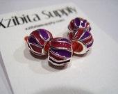"""4 Purple & Rose Red Enamel, Tibetan Silver, European Charm Beads, Euro Beads, """"Motion"""" Pattern Spacer Beads"""