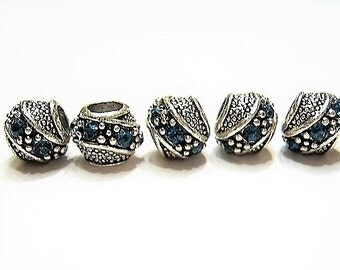 5 Fancy Barrel Spacers with Peacock Blue, Czech Crystals, Tibetan /  Antique Silver  European Style, Beads for Bracelets, Euro