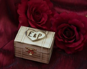"Proposal Ring Rustic Wood Box engraved with initials and ""will you marry me"" engraved inside"