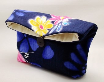 Ref. FC1  Foldover clutch, cosmetic bag, wedding purse, makeup pouch, bridal, bridesmaid gifts set, cotton purse, travel bag