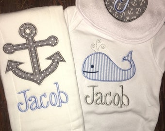 Monogram and Applique Embroidered Onesie, Monogram Baby Hat, Take Home Outfit, Newborn Gift Set, Personalized Bib and Burp Cloth, Nautical
