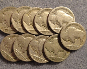 A Herd of 10 Collectible Buffalo Nickels- Unknown Dates