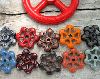 Colorful group of Vintage Valve Handles, Garden decor, Industrial, Steampunk,  Assemblage, Collection of 11 Aluminum