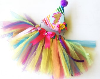 Fluffy Rainbow Tulle & Ribbon Birthday Tutu  and Party Hat  for Parties Photo shoots 2 sizes available