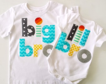 Big Brother Little Brother Tshirt and Bodysuit Set for Birth Announcement, Photo Shoot, Baby Gift