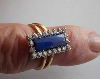 Lapis Lazuli and Diamond Halo Ring .40Ct Dwt Yellow Gold 14K 4.1gm Size 6 Unique Design