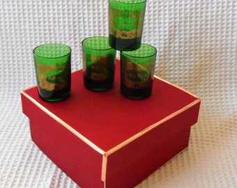 4 Liquer Glasses Green and Gold Boxed Set